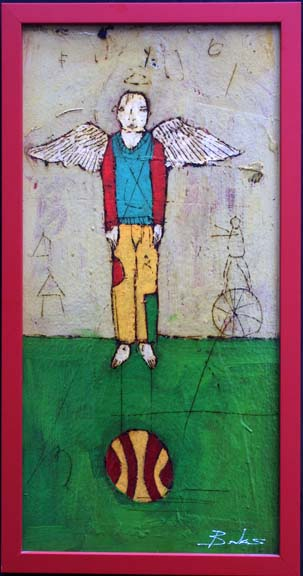"""Angel with Ball"" 2003 by Michael Banks mixed media on wood in red wooden frame 23.5"" x 11.5"" $800 #10454"