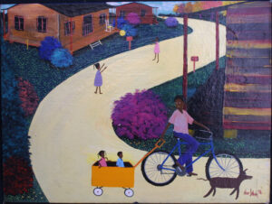 """""""Playing in the Neighborhood"""" dated 1998 by Sharon Johnson acrylic on canvas board 12"""" x 16"""" in black frame $400 #11413"""