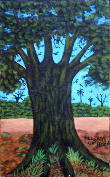 """Baobab Tree"" by Hawa Diallo oil on wood panel 15.75"" x 9.75"" in black shadowbox frame $800 #11601"