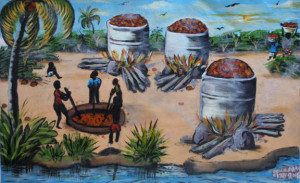 """Palm Oil Makers""  dated 2014 by Hawa Diallo  oil on canvas  14.5"" x 23.75""  in black frame  $1550  #11605"