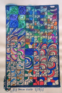"""Labeghol"" dated 3-18-13 by Hawa Diallo pen, marker on paper 12"" x 9"" in 8 ply white mat with black frame $390 #11608"
