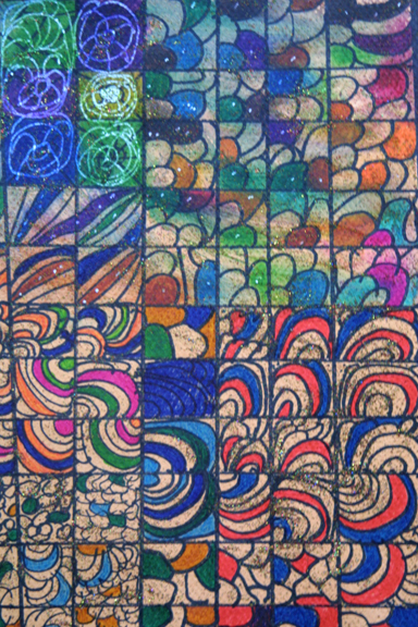 "detail ""Labegbol"" dated 3-18-13 by Hawa Diallo pen, marker on paper 12"" x 9"" in 8 ply white mat with black frame $390 #11608"