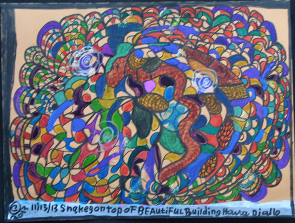 """""""Snakes on Top of Beautiful Building"""" dated 11-13-13 by Hawa Diallo pen, marker on paper 9"""" x 12"""" in 8 ply white mat with black frame $400 #11609"""
