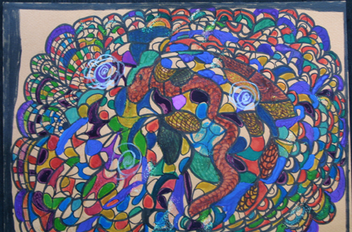 """detail """"Snakes on Top of Beautiful Building"""" dated 11-13-13 by Hawa Diallo pen, marker on paper 9"""" x 12"""" in 8 ply white mat with black frame $400 #11609"""