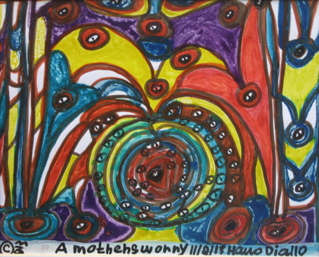 """""""A Mother's Worry"""" dated 11-2-13 by Hawa Diallo marker on paper 8"""" x 12.5"""" n 8 ply white mat with black frame $340 #11610"""