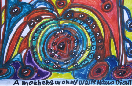 """detail """"A Mother's Worry"""" dated 11-2-13 by Hawa Diallo marker on paper 8"""" x 12.5"""" n 8 ply white mat with black frame $340 #11610"""
