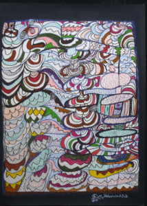 """New York Spring"" by Hawa Diallo dated 2013 pen, marker on paper 15"" x 11"" in 8 ply white mat with black frame $450 #11612"