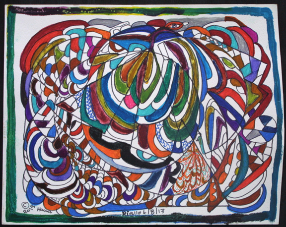 """Flying Snake"" dated 4-8-13 by Hawa Diallo pen, marker on paper 11"" x 14"" irr in 8 ply white mat with black frame $400 #11613"