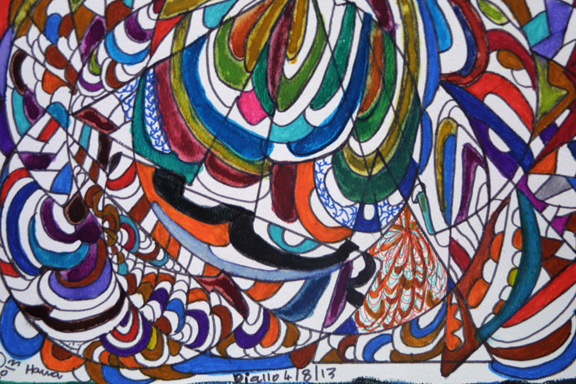 "detail ""Flying Snake"" dated 4-8-13 by Hawa Diallo pen, marker on paper 11"" x 14"" irr in 8 ply white mat with black frame $400 #11613"