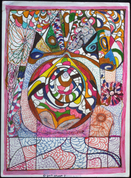 """Women Protection"" dated 4-3-13 by Hawa Diallo pen, marker, glitter on paper 15"" x 11"" in 8 ply white mat with black frame $450 #11614"