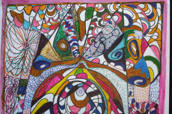 "detail ""Women Protection"" dated 4-3-13 by Hawa Diallo pen, marker, glitter on paper 15"" x 11"" in 8 ply white mat with black frame $450 #11614"