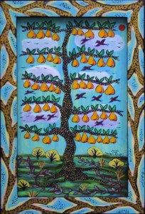 """Old Pear Tree and Wild Weeds""  by Sarah Rakes  acrylic on wood panel and artist's frame   12.5"" x 8.5""  $295  #11639"
