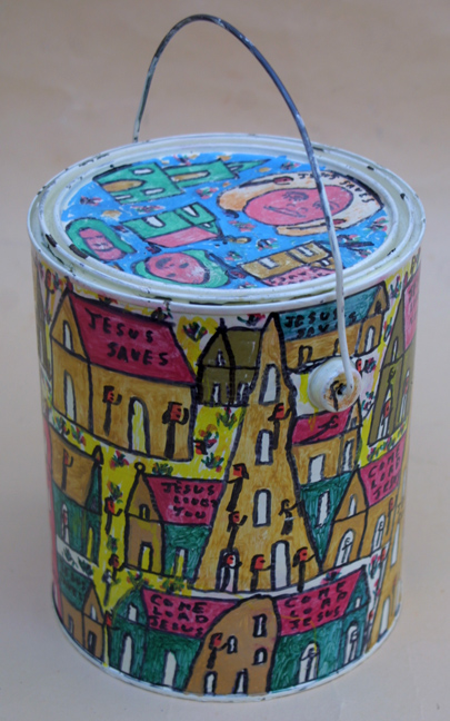 """Jesus Saves"" paint can by Howard Finster paint & marker on gallon paint can 7.75"" x 6.5"" $800 #11908"