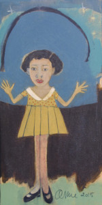 """#11623""""It's Beautiful Here""""  by AnneBuffum mixed media on wood12"""" x 6""""floated in black shadowbox$215"""