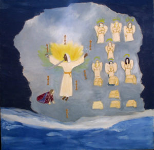 """Revelations - Chapter 1"" c. 1995 by Annie Lucas acrylic & thread work on canvas 36"" x 36.5""x 1.5"" $1500 #11268"