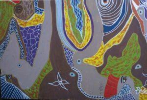 """Kings and Elephants"" by Brenda Davis   mixed media on wood  47.75"" x 48"" unframed  $3800  #11540"