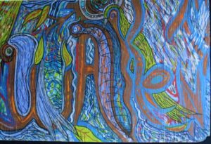 """detail """"The Divine Word- Awakening""""...The word turns into trees   by Brenda Davis  mixed media on wood  35.75"""" x 45"""" unframed  $3000  #11543"""