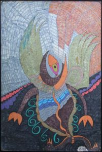 """Fish Bird...In a time I could be on dry land or in the air...""  by Brenda Davis  mixed media on paper  36"" x 24""  unframed $1400  #11545"