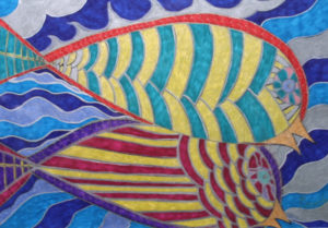 """detail """"Husband and Wife Swim Together""""  2005  by Brenda Davis   marker, pen on paper  12"""" x 18""""  white archival mat in black frame  $650  (10279)"""