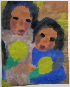 """""""Two Girls with Yellow Flowers"""" d July '66  by Sybil Gibson   goache on brown paper bag 13.25"""" x 10.5"""" white archival mat in black frame  $1000  (11304)"""