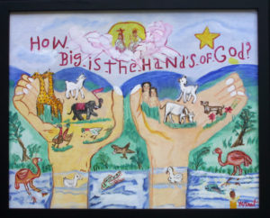 """""""How Big is the Hands of God?"""" c. 1996  by Myrtice West   acrylic on canvas board 16"""" x 20"""" in black frame  $450  (11397)"""
