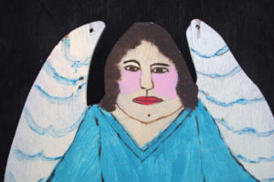 "detail ""Angel"" c. 1994 by Myrtice West  2 sided cut out (blue side)  Acrylic on wood cut out 19"" x 13.5""    $300  (11502)"