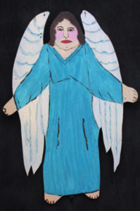 """Angel"" c. 1994 by Myrtice West  2 sided cut out (blue side)  Acrylic on wood cut out 19"" x 13.5""    $300  (11502)"