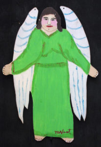 """Angel"" c. 1994 by Myrtice West  2 sided cut out (green side)  Acrylic on wood cut out 19"" x 13.5""    $300  (11502)"