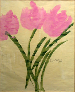 """""""Tulips"""" d 1993  by Sybil Gibson  gouache on paper  27"""" x 22"""" in white linen mat with gold beaded filet in gold leaf frame  $1800  (11597)"""