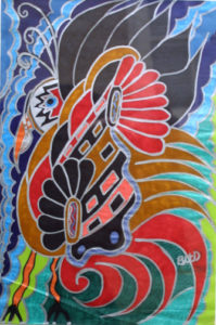 """Peacock Bird with Flared Feathers"" c. 2007 by Brenda Davis marker pens on paper unframed $850 (11663)"