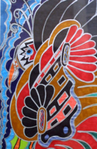 "detail ""Peacock Bird with Flared Feathers"" c. 2007 by Brenda Davis marker pen on paper 18"" x 12"" unframed $850 (11663)"