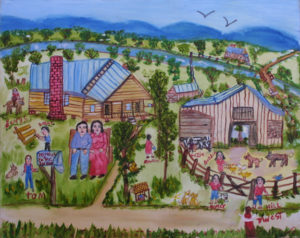 """""""My Family on the Farm"""" c. 1994 by Myrtice West  acrylic on canvas  16"""" x 20""""  in black frame  $425 (11664)"""