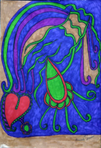 """To Catch a Heart"" d 2006 by Brenda Davis  marker on paper 14"" x 11""  unframed  $650  (11671)"
