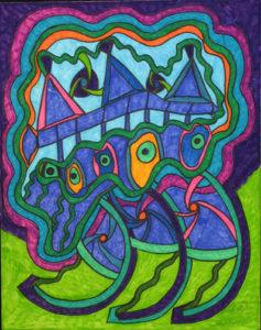 """Boats Out in Strange Water"" dated 3-9-07 by Brenda Davis  marker on paper  14"" x 11""  unframed $750  (11672)"