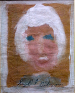 """""""Face"""" c. 1992 by Sybil Gibson  tempera on grocery bag paper  10"""" x 8"""" $500  (11749)"""