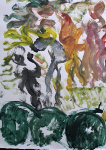 "detail Untitled (People Dancing) signed by Purvis Young acrylic on poster board 22.5"" x 30.25"" $500 (11667)"