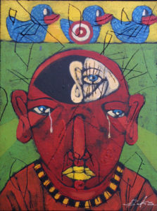 """""""Where Is Julie"""" 2010  by Michael Banks  acrylic & mixed media on  wood  16"""" x 12"""" in black shadowbox frame   $600  #10728"""