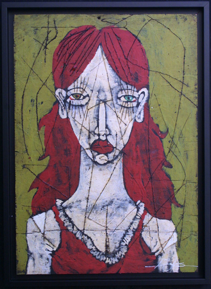 """Plush Love"" 2010 by Michael Banks acrylic & mixed media on wood 24"" x 17"" in black shadowbox frame $750 #10740"