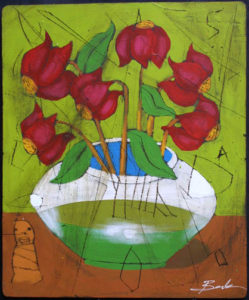 """""""Unity"""" by Michael Banks  mixed media on wood  24.75"""" x 20.5""""  in black shadowbox frame  $950  #10924"""