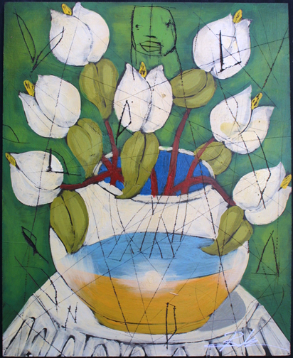 """Spring"" by Michael Banks mixed media on wood 24"" x 16.5"" unframed $800 #10974"