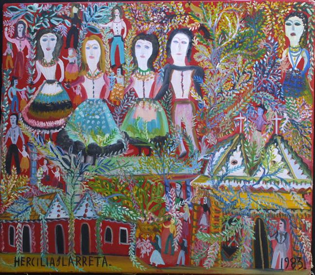 """La Muncca"" dated 1984 by Larrreta Hercillia acrylic on canvas 31.75"" x 27.5"" $5000 #11327"