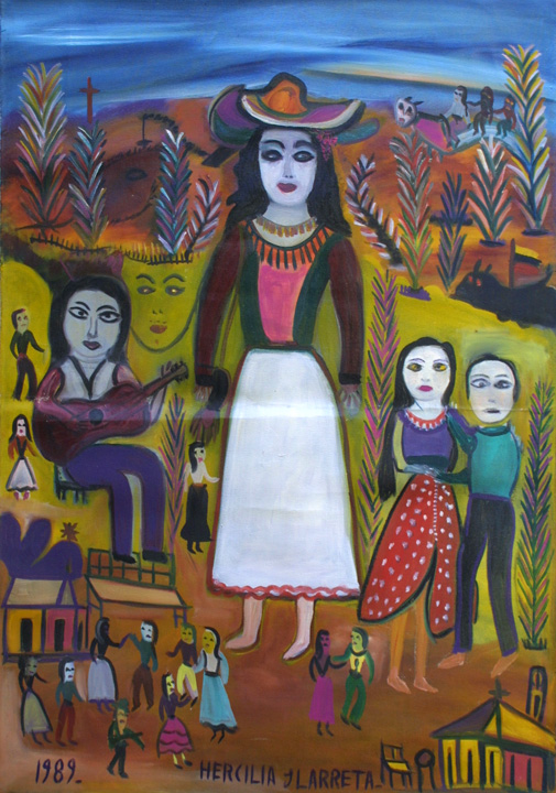 """La Gitana"" dated 1989 by Hercillia Ilarreta acrylic on unstretched canvas 29"" x 40.5"" $5000 #11328"
