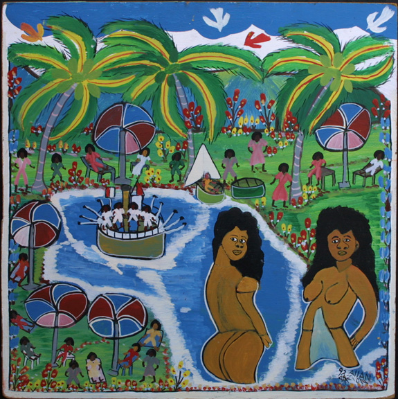 "Untitled dated 1992 (Paradise) by Allan Zion acrylic on masonite 24"" x 24"" unframed $1500 #11331"