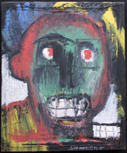 """Student"" c. 2001  by Michael Banks  acrylic on found silkscreen frame  24"" x 20"" x 2""  on silkscreen frame $1200  #11657"