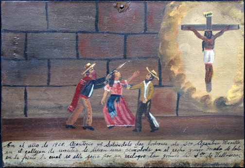 "ExVoto: ""Lady's Gratitude for the Miracle of Safety of Among Thieves in the Year of 1928"" by anonymous Mexican artist oil paint on tin with ink 7.74"" x 11.5"" #11757"