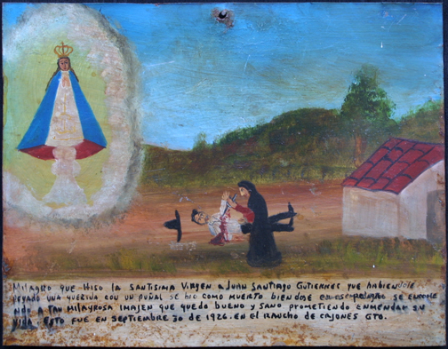 "Ex Voto ""Miracle for Juan Santiago Gutierrez being Healthy After Being Stabbed"" dated September 30, 1926 by anonymous Mexican artist oil paint on tin with ink 8.5"" x 11"" $525 #11758"