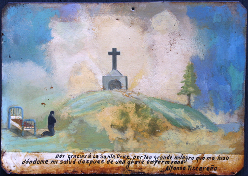 "Ex Voto: ""After A Grave Illness Praying To The Cross"" c.1920s by anonymous Mexican artist oil paint on tin with ink 7.25"" x 10.5"" $550 #11759"