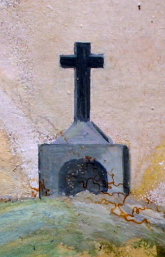 "detail Ex Voto: ""After A Grave Illness Praying To The Cross"" c.1920s by anonymous Mexican artist oil paint on tin with ink 7.25"" x 10.5"" $550 #11759"