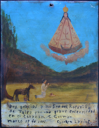"Ex-voto: ""Gratitude For Healing From Serious Illness In The Heart"" dated March, 1945 by anonymous Mexican artist oil paint on tin with ink 10.75"" x 8.25"" $ 525 #11760"