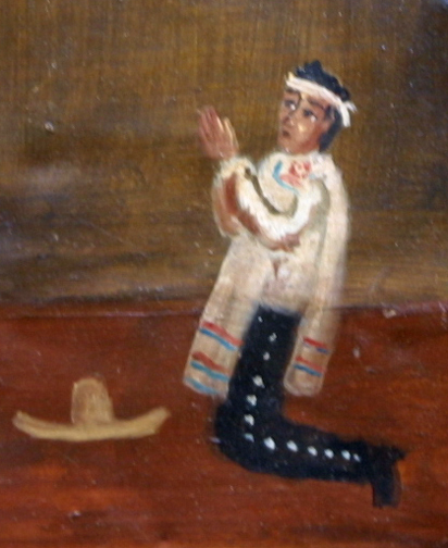 "detail Ex-voto; ""Gratitude For Health After Dangerous Illness"" dated January 5, 1931 by anonymous Mexican artist oil paint on tin with ink 7.5"" x 10"" $525 #11763"
